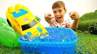 Мультики про машинки: Новая трасса для Бамблби - Прыжки в воду!