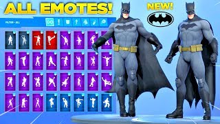 *NEW* BATMAN SKIN Showcase with All Fortnite Dances & Emotes! (Batman Comic Book Outfit)