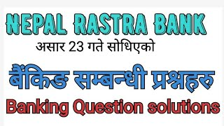 Banking Question asked in exam asar 23 // Nepal Rastra bank exam questions solutions