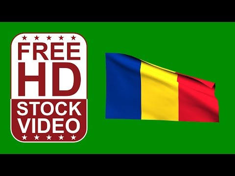 FREE HD video backgrounds – Romania flag waving on green screen 3D animation