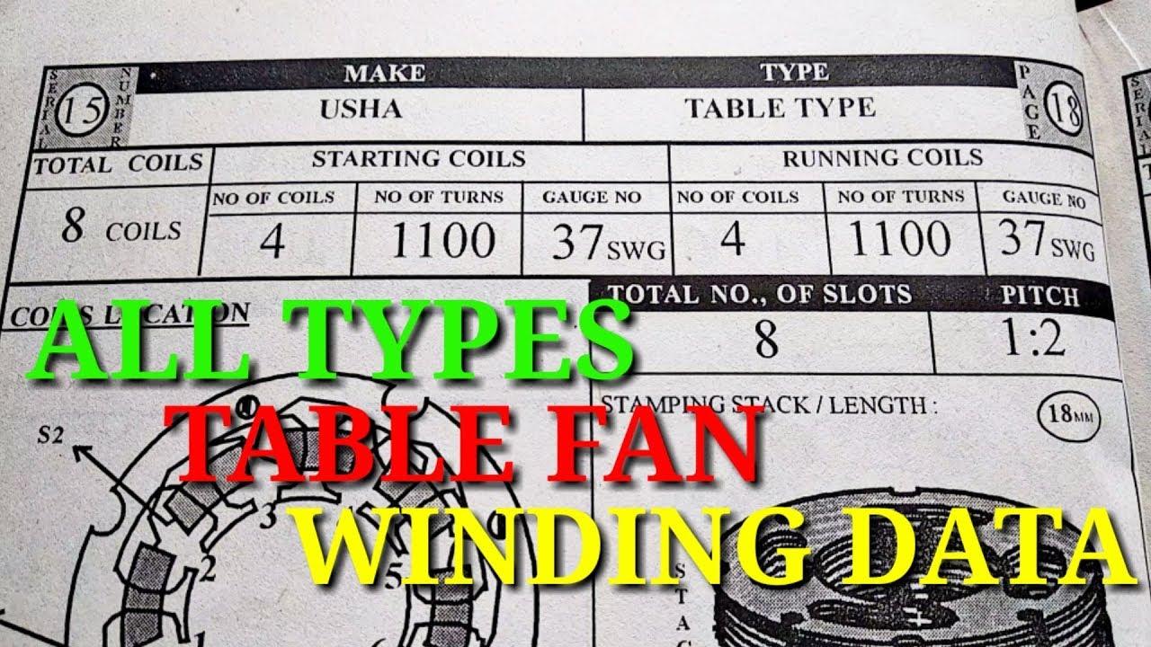 all types table fan winding data