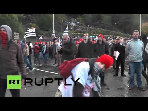 France: Ecotax protesters hammer riot police