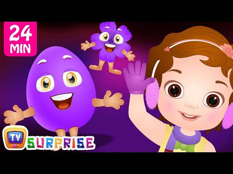 Learn PURPLE Colour with Funny Egg Surprise Toys & Songs   ChuChuTV Colorful Surprise Eggs for Kids