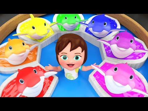 Colors for Children to Learn with Little Baby Girl Fun Play with Color Dolphins 3D Kids Educational