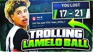 LAMELO BALL RAGES AFTER I MAKE HIM LOSE ON PURPOSE😂BEST  ROAST BATTLE🤬 !LAMELO EXPOSED NBA 2K19😂