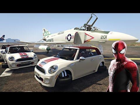 örümcek adam savaş uçağı ve uçan araba mini cooper kullanıyor çizgi film gibi