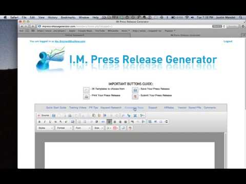 IM Press Release Generator Software Walk Through