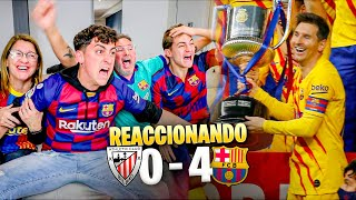 HINCHAS del BARÇA REACCIONAN a la FINAL ATHLETIC CLUB 0 - 4 BARÇA *nos volvemos LOCOS*