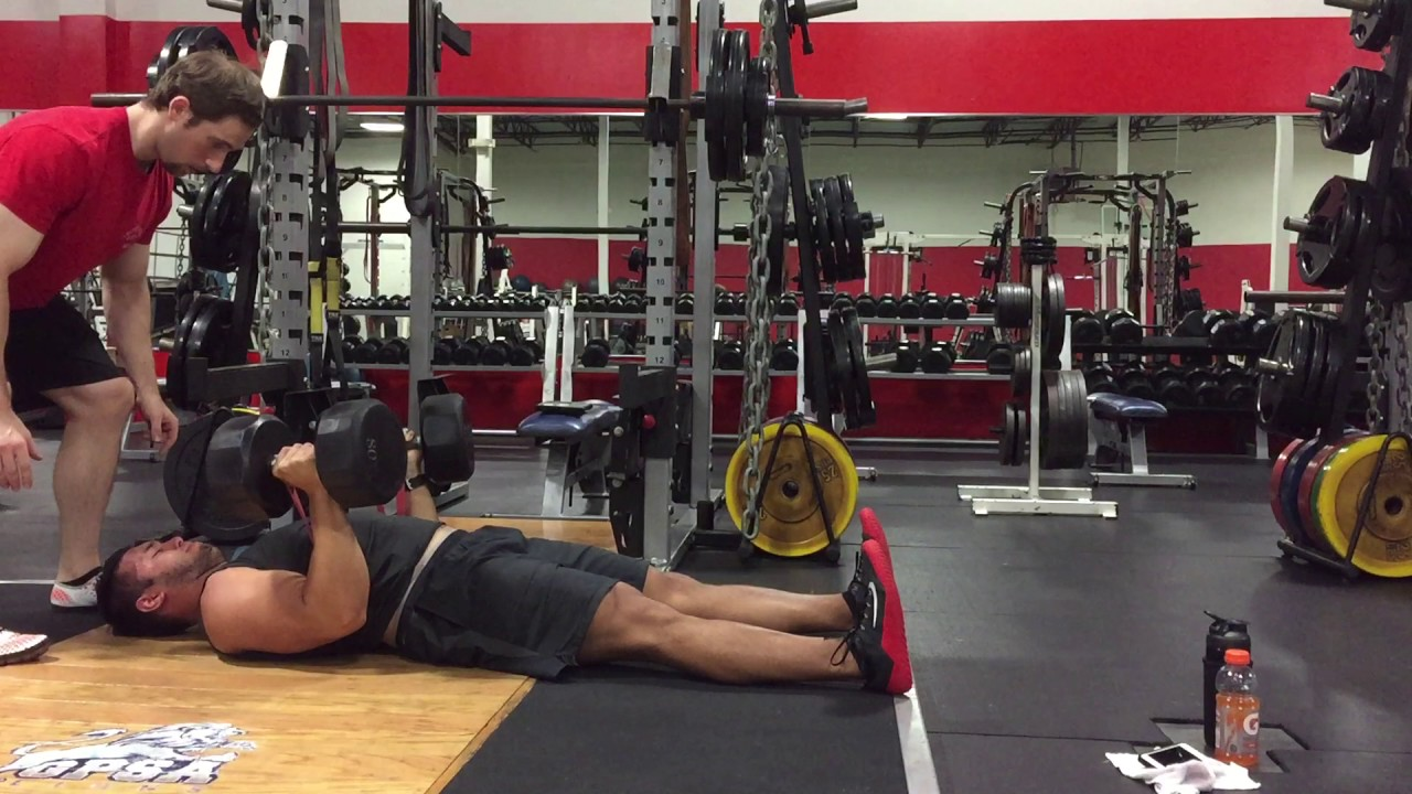 Dumbbell Floor Press With Band Resistance Accommodating