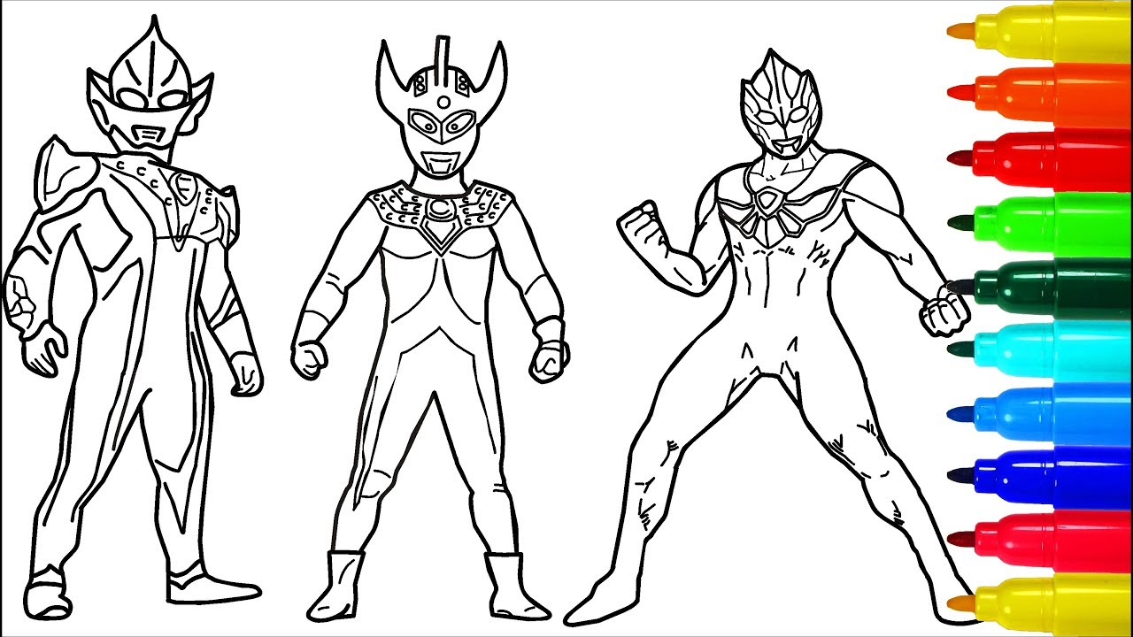 Ultraman taro zero hikari coloring pages colouring pages for kids with colored markers
