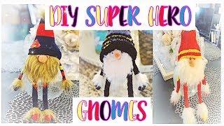 DIY No Sew Super Hero Christmas Gnomes made from Dollar Tree Ornament