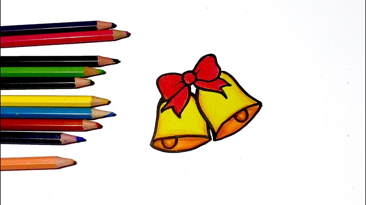 How to draw a Christmas bell for kid easy drawing tutorial - YouTube