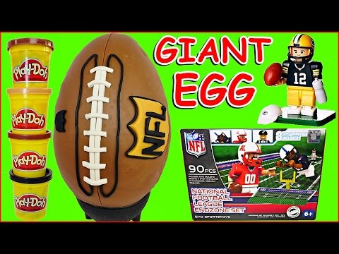 GIANT FOOTBALL PLAY DOH SURPRISE EGG & Toys + OYO National Football League Endzone Set