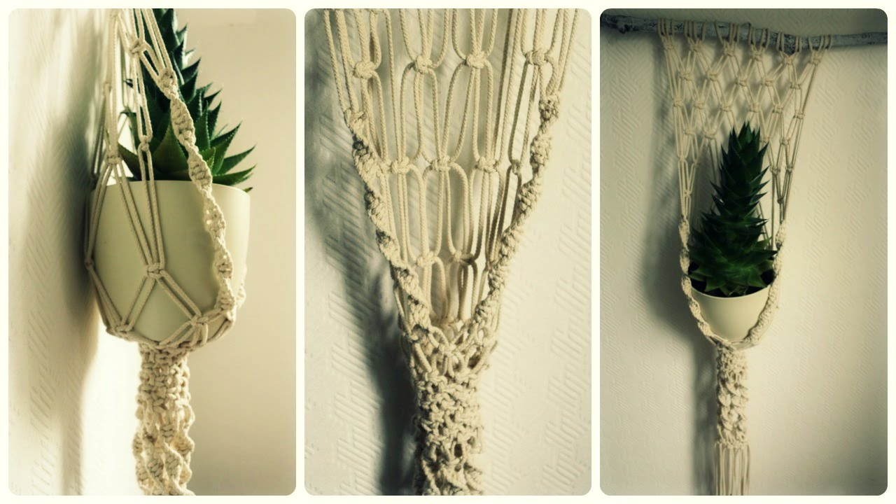 makramee blumenampel diy macrame plant hanger eng sub youtube. Black Bedroom Furniture Sets. Home Design Ideas