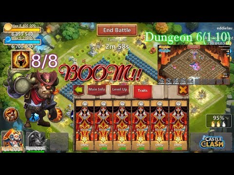 Perfect Traits Mino Raiding And Dungeon 6 Gameplay INSANE DAMAGE Castle Clash
