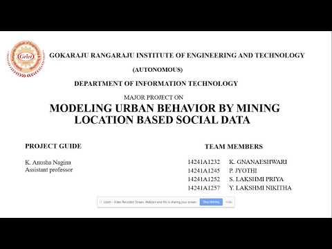 Group 11 Modeling Urban Behavior By Mining Location Based Social Data