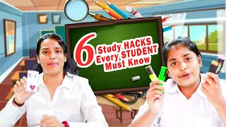 6 STUDY HACKS Every STUDENT Must Know l Types of Students in School Ayu And Anu Twin Sisters