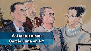 Entre lágrimas, pálido y despeinado: así compareció García Luna en Nueva York