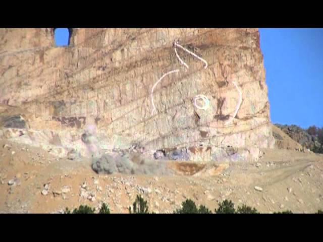 Crazy Horse Memorial mountain carving blast Jan 10, 2012