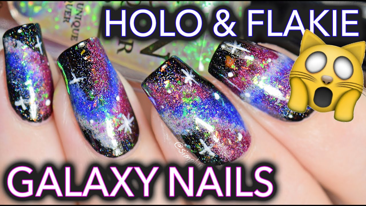 Easy Galaxy Nail Art with HOLO and FLAKIES = SPACE TRAVEL - YouTube