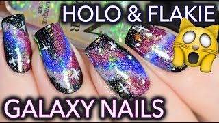 Easy Galaxy Nail Art with HOLO and FLAKIES = SPACE TRAVEL