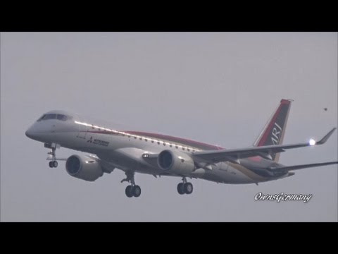The 1st Mitsubishi Regional Jet MRJ90 Returns From a Test Flight @ Moses Lake