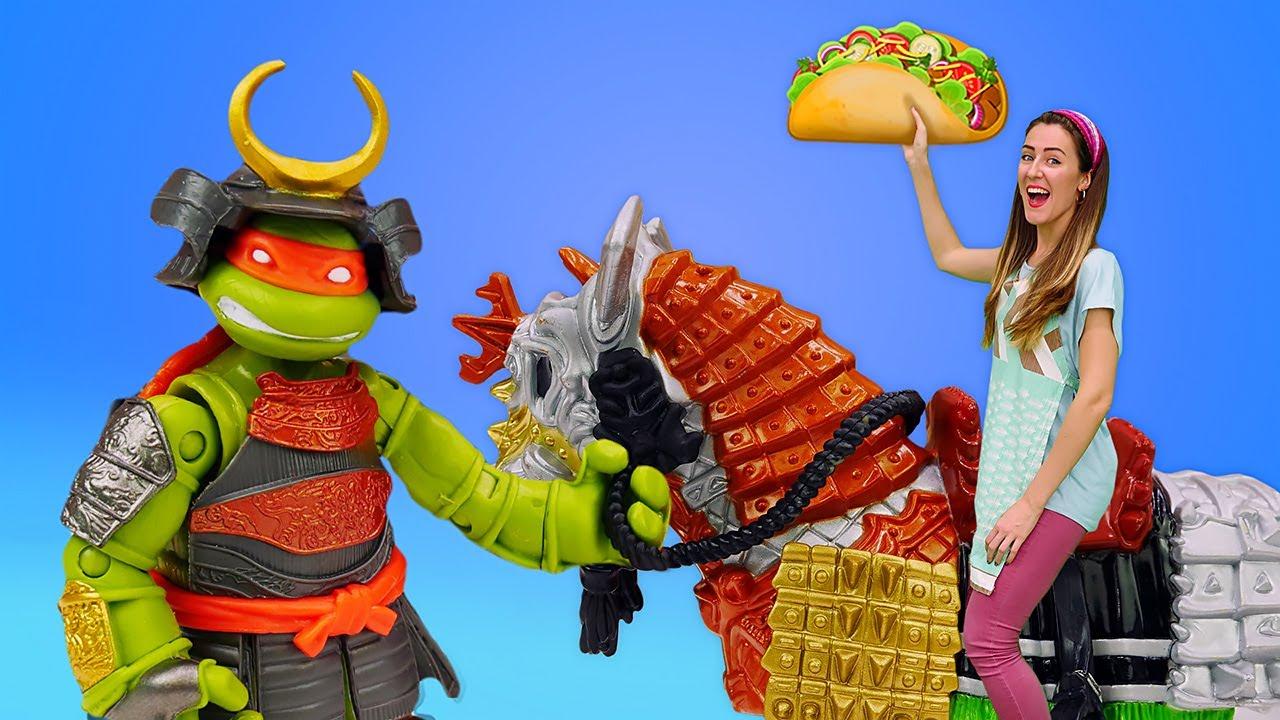 Receta de burritos para las Tortugas Ninja. Cocina para niños. Juguetes infantiles en español