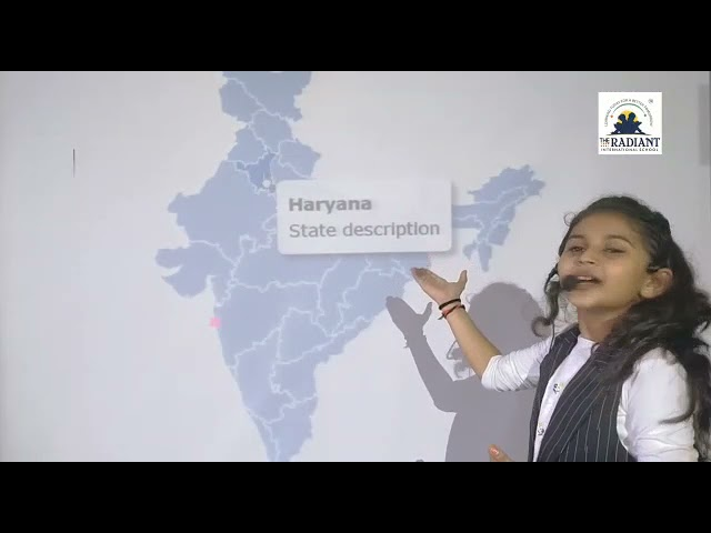 Grade 3 student performing on India's state's and it's Capitals.