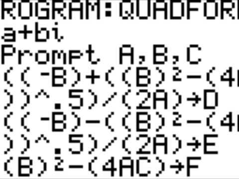 Quadratic Formula For Ti 83, Ti 84