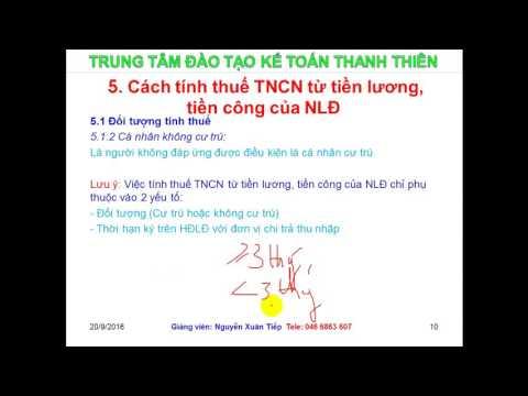 Cách Tính Thuế Thuế TNCN (mới Nhất Tháng 9.2016)