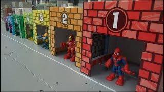 Spiderman 7 Super Heroes Color Garage Toys Play 스파이더맨 7명 슈퍼히어로 색깔 차고지 장난감 놀이