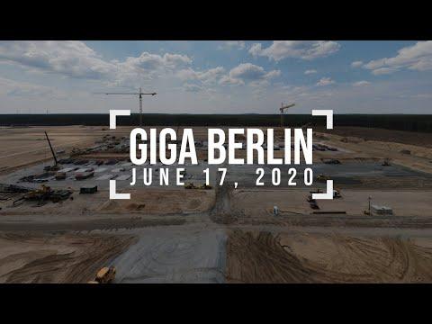 Container village - Tesla Giga Berlin - June 17, 2020 - 4k drone footage
