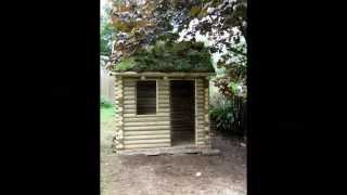 Making A Simple Green  Or Grass Roof On Log Cabin Playhouse