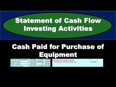 Statement Of Cash Flow Investing Activities -Cash Paid For Equipment