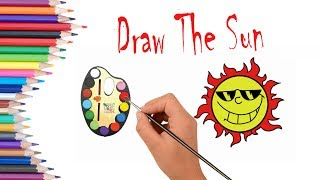 How to Draw and Paint a Bright Sun #Coloring #Page for Kids | Step by Step Easy Drawing Tutorial