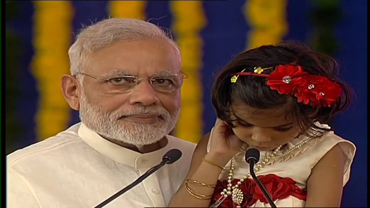 A specially-abled girl reads extract from Ramayana on PM Modi's birthday in Navsari