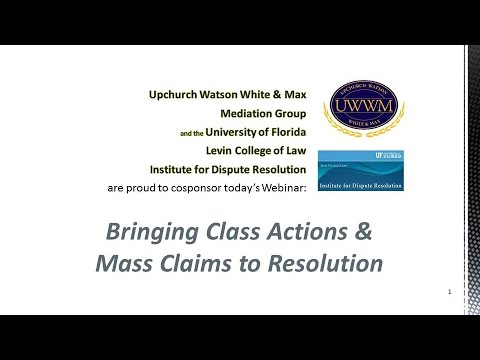 Bringing Class Actions/Mass Claims to Resolution