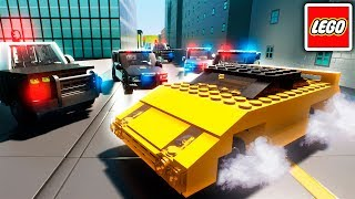 BANK HEIST POLICE CAR CHASE! - LEGO Cops and Robbers - Brick Rigs LEGO City Multiplayer Gameplay