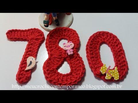 Projeto Números em Crochê:  7, 8, 0