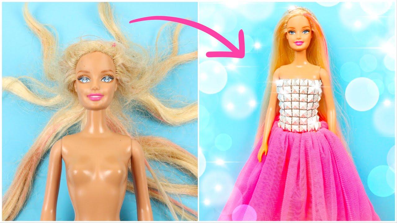 Download ETKİLEYİCİ BARBIE DÖNÜŞÜMÜ | Saç Düzeltme,Kıyafet Yapımı,Pembe Elbise ~ DIY Barbie Hairstyle Clothes