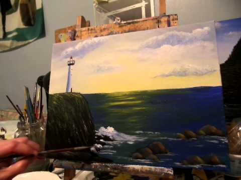 How to paint rocks and waves Acrylic Painting Lesson 6,