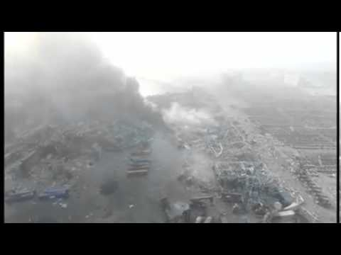 Drone captures devastation of China's Tianjin city