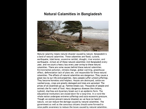 Natural Calamities In Bangladesh Paragraph | S.S.C | H.S.C | 2019