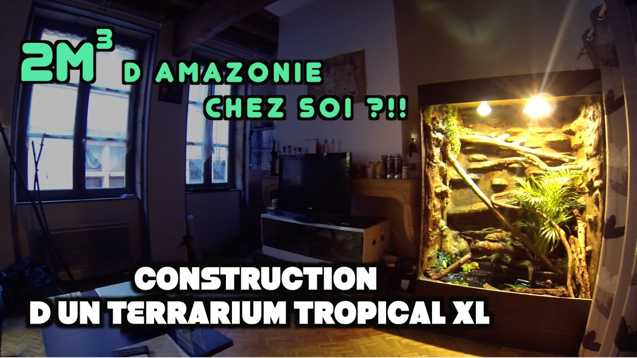 construction d 39 un terrarium tropical grand format youtube. Black Bedroom Furniture Sets. Home Design Ideas
