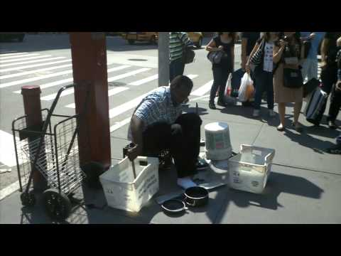 SUPER FAST Junk Drummer in NYC Soho