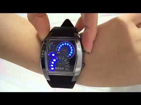 Racing Car Speedometer Dial Dot Matrix LED Watch