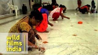 Rangoli making competition during Rath Yatra Mahotsav celebration
