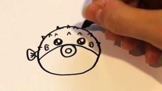 How to Draw a Cartoon Puffer Fish