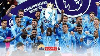 Manchester City lift the 2020/21 Premier League trophy! 🏆