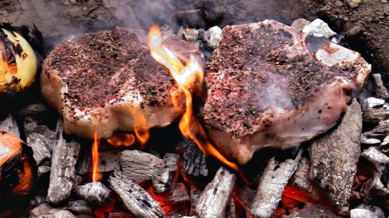 Caveman Meat : Caveman steak recipe cooked directly on the coals youtube